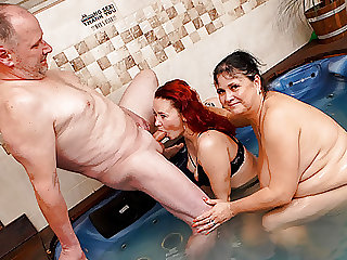 Old Couple fucked me in a public jacuzzi