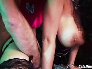 Busty Brunette Carmella Bing passed around at party double penetration