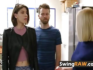 Sensual swinger foursome with juicy pussies