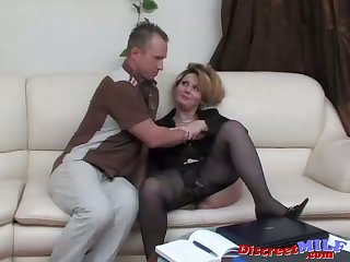 Mature Russian fucked by dildo and cock