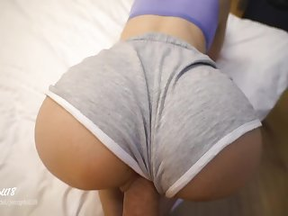 Quick Fuck Before Traveling - Amateur Wife Gets Cum in Pussy Wearing Shorts