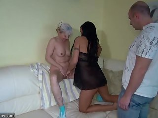 OldNanny sexy girl fucking in threesome