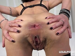 Nasty slut Lyna Cypher dominated with double penetrate and didlo