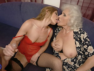 Granny joins young couple with pissing