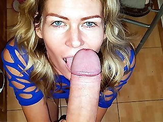 Blonde Sucks her BF's Cock like a Vacuum Cleaner