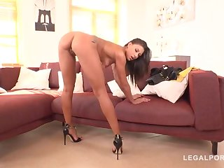 Slender honey, Cassie Del Isla is moaning from enjoyment while 2 men are nailing her fuck-holes
