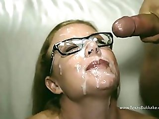 Nerdy Becca Gets Gangbanged In Threesome And Facialized