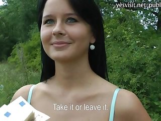 Busty Czech girl Mia drilled in public with pervert stranger