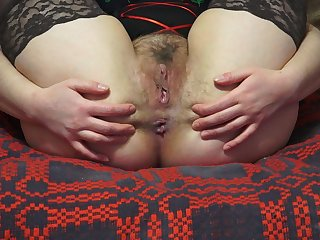 Hairy pussy and ass, close-up