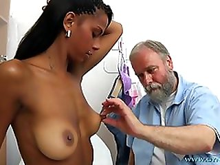 Bearded Old Gynecologist Checks-Up All Holes Of Young Exotic Lady