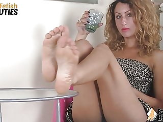 Redhead feet in your face and upskirt shot