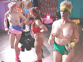 Younger Babe getting initiated by The Fitness club babes
