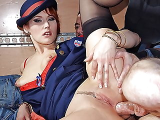 Redhead meter maid gets fucked in the truck