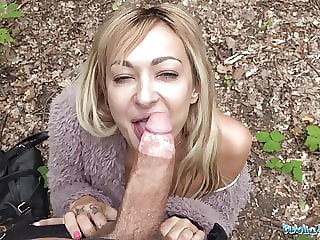 Public Agent Lola Shine gets her tight pussy fucked outside