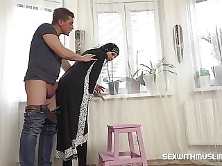 Hot Muslim woman doing extra cleaning