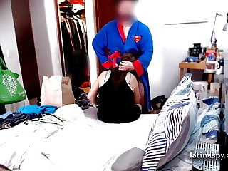 mom maid folds clothes while she blows a cock