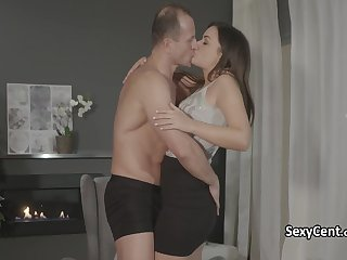 Couple fucking and cumming on chair