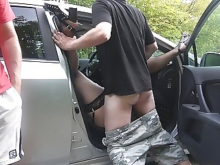 Jessica fucked and creampied by 8 strangers at a highway rest area